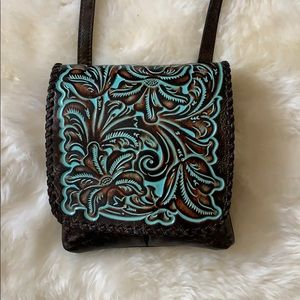 Beautiful hand tooled leather cross body